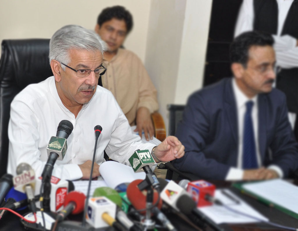 Minister for Water and Power Khwaja Asif  talking to the media in Islamabad. PHOTO: PID