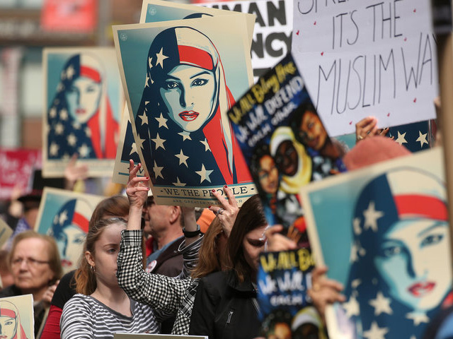 """People take part in a rally called """"I am Muslim Too"""" in Times Square Manhattan, New York City, on February 19th. PHOTO: REUTERS"""