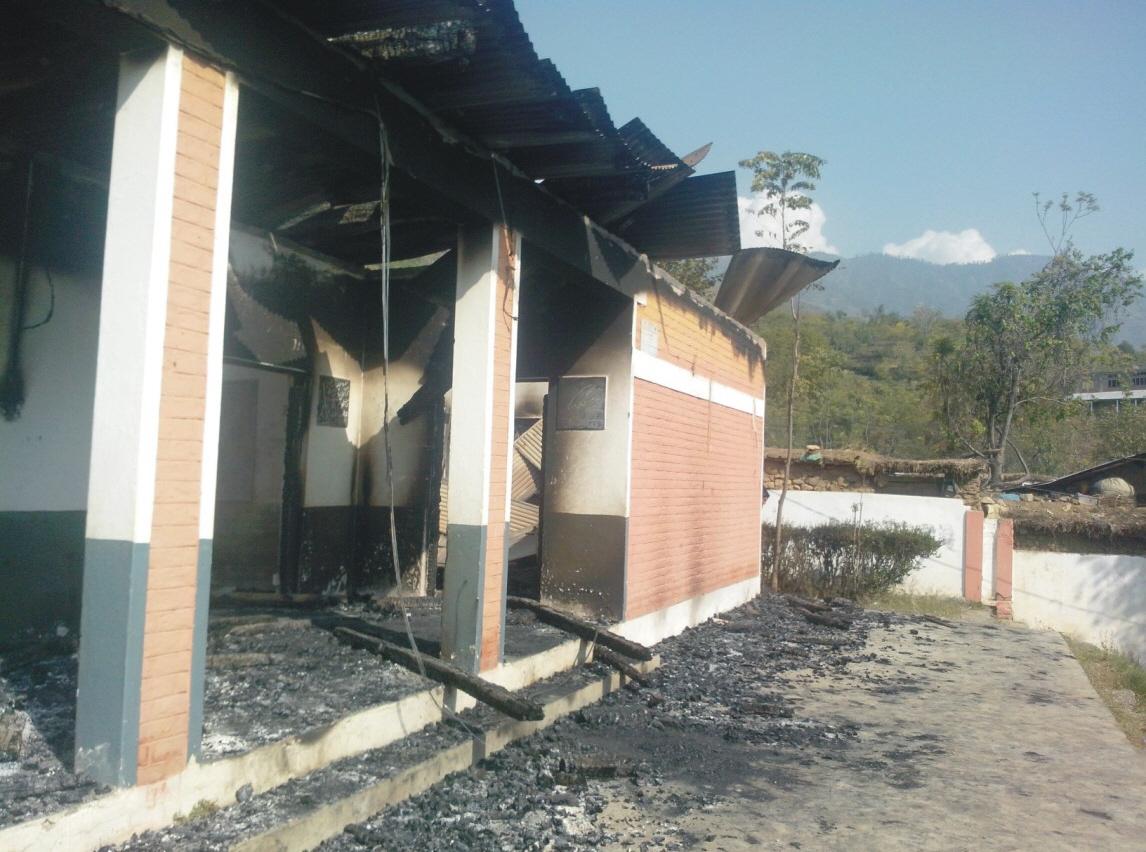 government run girls primary school in shalpin village burned down in khawazakhela tehsil swat photo express