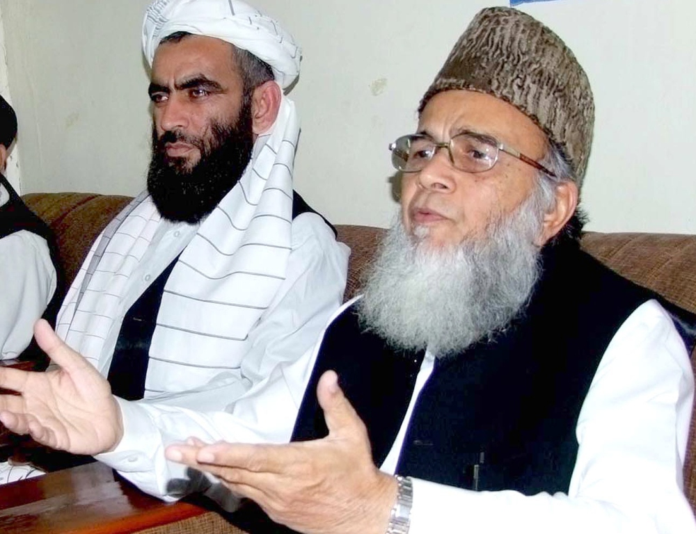 Munawar Hasan calls upon the government to pull out of the 'American war'. PHOTO: INP/ FILE