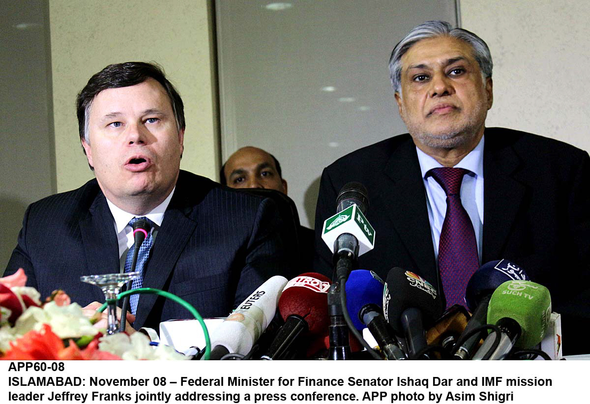 imf mission chief jeffrey franks addressing a press conference along with finance minister ishaq dar unseen in islamabad on friday photo app