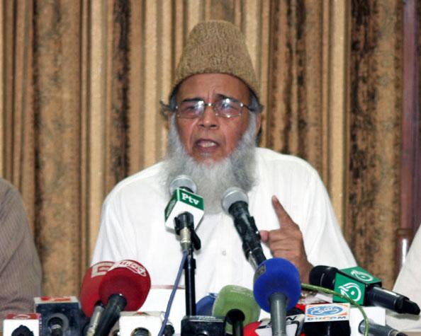 JI chief Syed Munawwar Hasan. PHOTO: NNI
