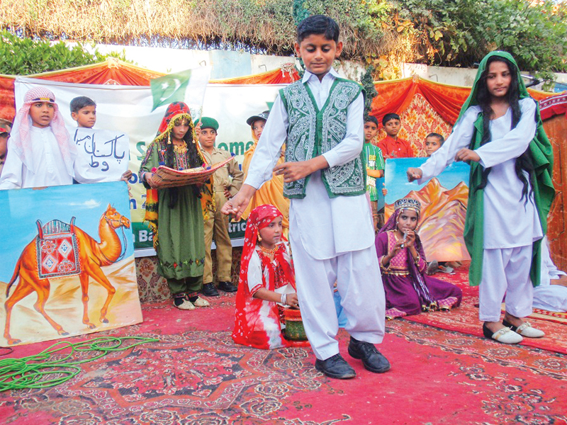 young residents of pakistan sweet home in sukkur decked up in colourful clothes and presented tableaus on the occasion of the universal children s day on wednesday photo express