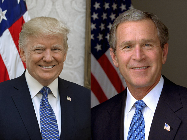 Trump is merely extrapolating from Bush's policies, and keeping his voter base happy.