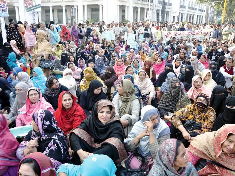 teachers stage a sit in at charring cross photo shafiq malik express