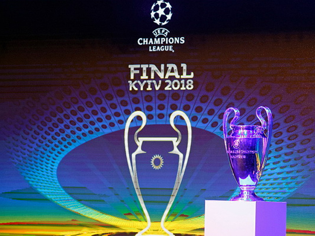 The UEFA Champions League trophy is pictured during the unveiling ceremony of the logo of the 2018 UEFA Champions League final soccer match. The UEFA Champions League final will be played at the Olimpiyskiy stadium in Kiev on 26 May 2018. PHOTO: GETTY