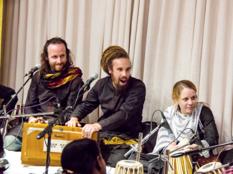 The nine band members, all foreigners, have devoted their lives to spreading the message of Sufis in the West since 2001. PHOTO: EXPRESS