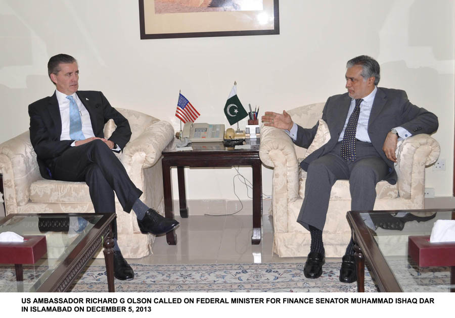 us ambassador richard olson in a meeting with federal minister for finance ishaq dar in islamabad on december 5 2013 photo pid