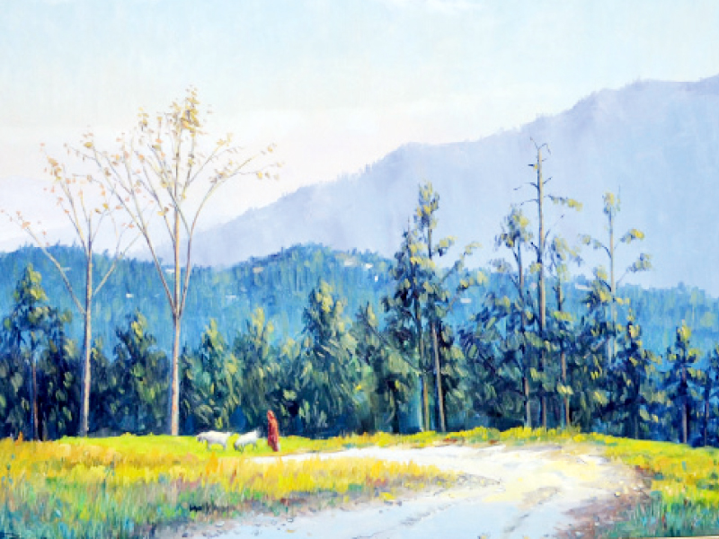 Some of the paintings of the artist to pay tribute to the chilly season in the hills. PHOTO: EXPRESS