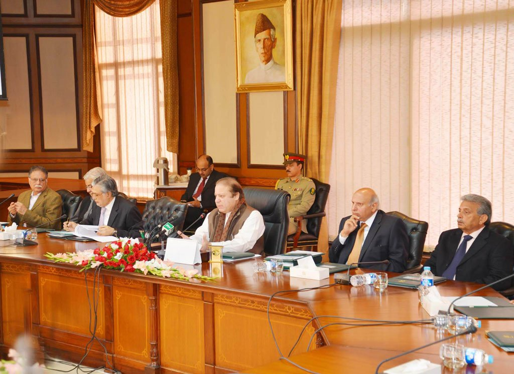 Prime Minister Nawaz Sharif addressing the special cabinet meeting on January 1, 2014/ PHOTO: PID