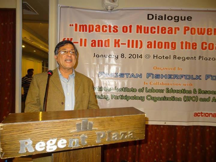 Dr Pervez Hoodbhoy speaking at the seminar in Karachi. PHOTO: SHUJAUDDIN QURESHI