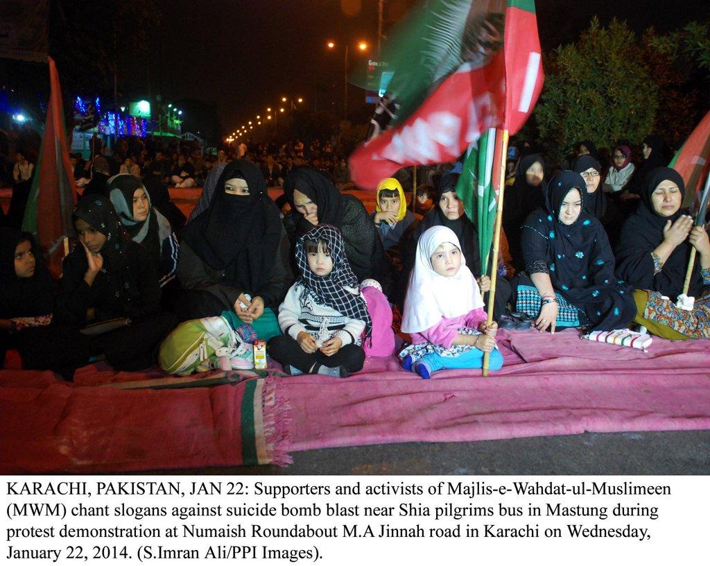 women and children protesting against mastung blast in karachi photo ppi