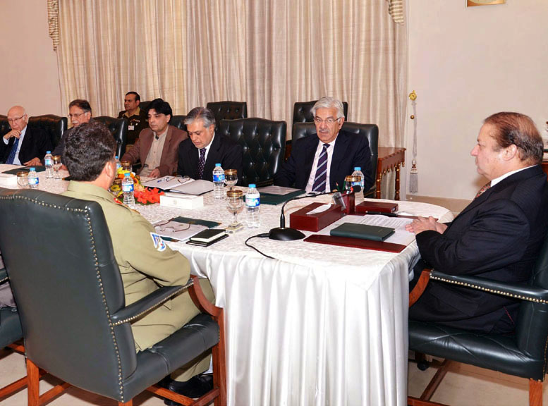 prime minister nawaz sharif chairing a high level meeting on internal security following a wave of deadly bombings in the country photo pid