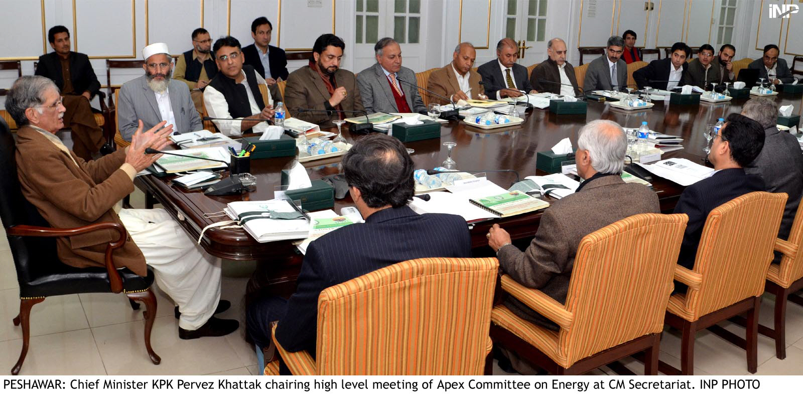 khyber pakhtunkhwa chief minister pervez khattak along with senior members of k p government and pti during the apex committee photo inp
