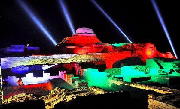 moenjo daro ruins lit up ahead of the opening ceremony photo app file