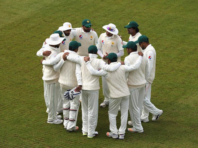 the pakistan team gather during the tour match between northamptonshire and pakistan at the county ground on may 4 2018 in northampton england photo getty