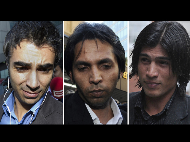 Salman Butt (L), Mohammad Asif (C), and Mohammad Aamir (R) were sentenced on February 5, 2011. PHOTO: AFP/FILE