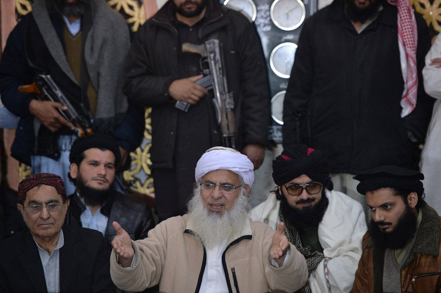 """""""I won't participate in talks until they include a clause about the imposition of Islamic law,"""" says Maulana Abdul Aziz. PHOTO: AFP"""
