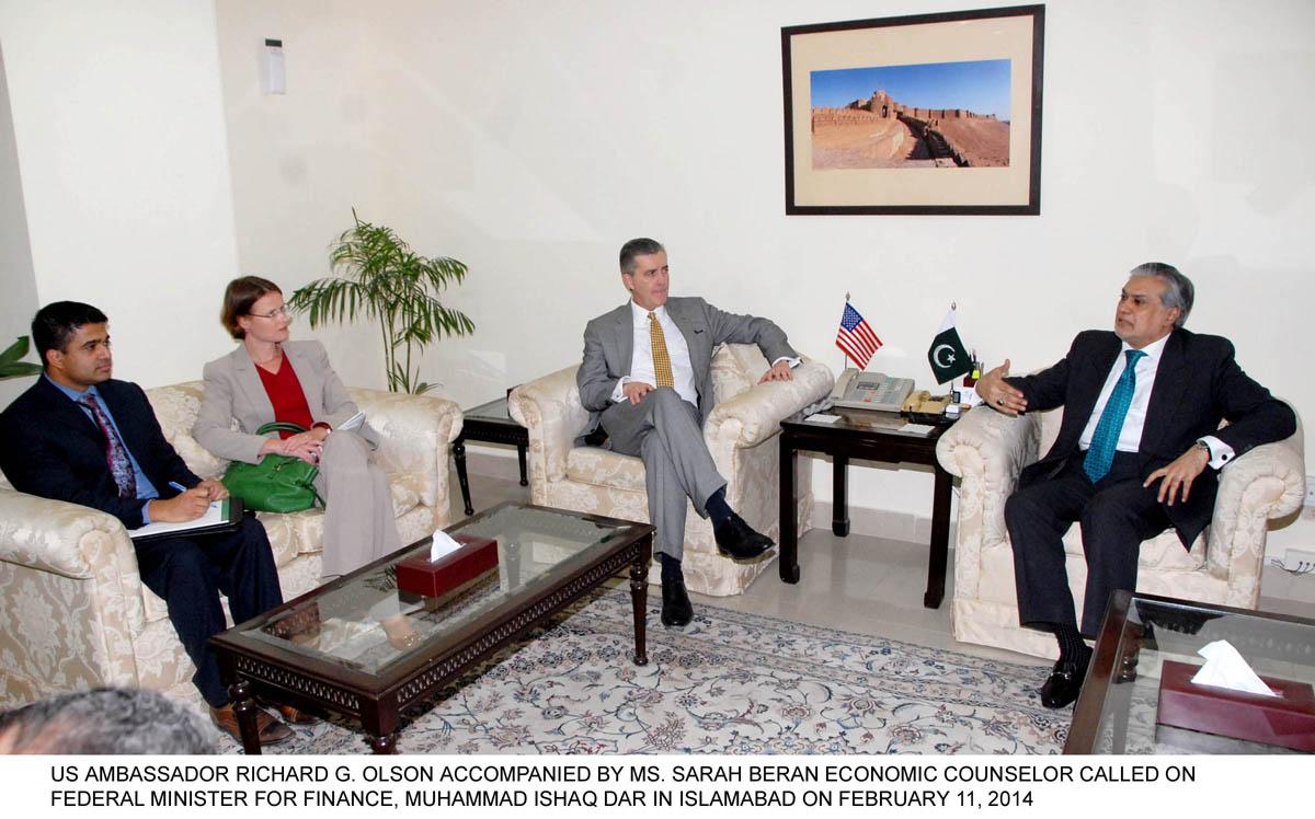 finance minister ishaq dar r in a meeting with us ambassador richard olson l in islamabad on tuesday photo pid