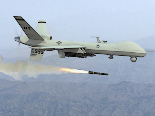 a photo of a drone firing a missile photo afp