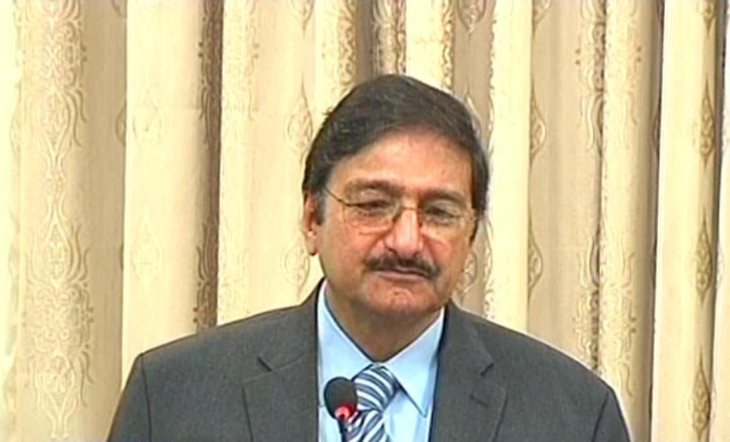 express news screengrab of former pcb chairperson zaka ashraf addressing the gathering in lahore