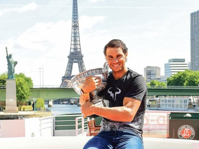 Rafael Nadal of Spain poses during a photocall to celebrate his record breaking 10th French Open title at Quai de Grenelle on June 12, 2017 in Paris, France. PHOTO: ICON SPORT
