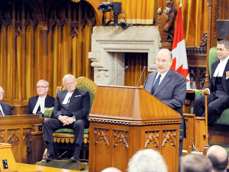 Prince Karim Aga Khan addresses a joint session of the Parliament of Canada. PHOTO: AKDN