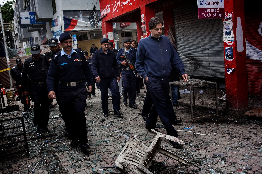 The attack on a district court in Islamabad's sector F-8 has killed 11 people and injured 25 others. PHOTO: MYRA IQBAL