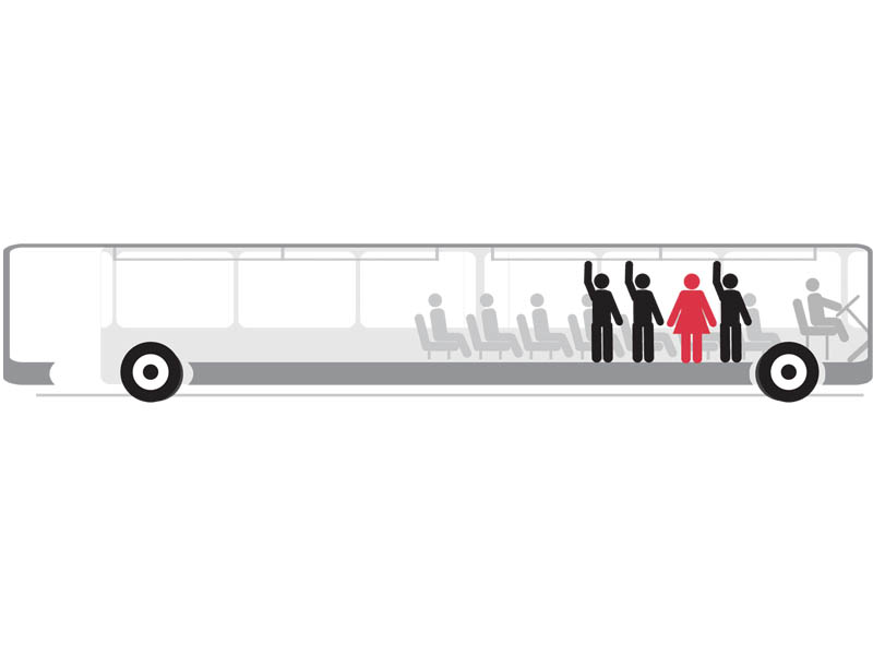 Women travelling by public transport face verbal and physical harassment from drivers, conductors and male passengers. DESIGN: TALHA KHAN