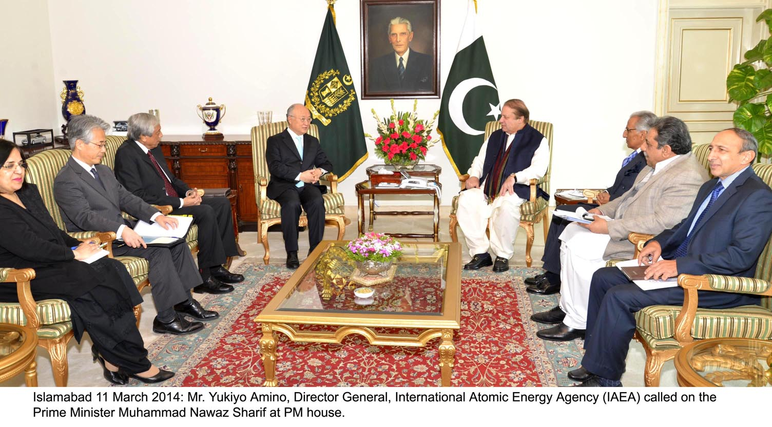dg iaea yukiyo amano in a meeting with prime minister nawaz sharif at the pm house on tuesday photo pid