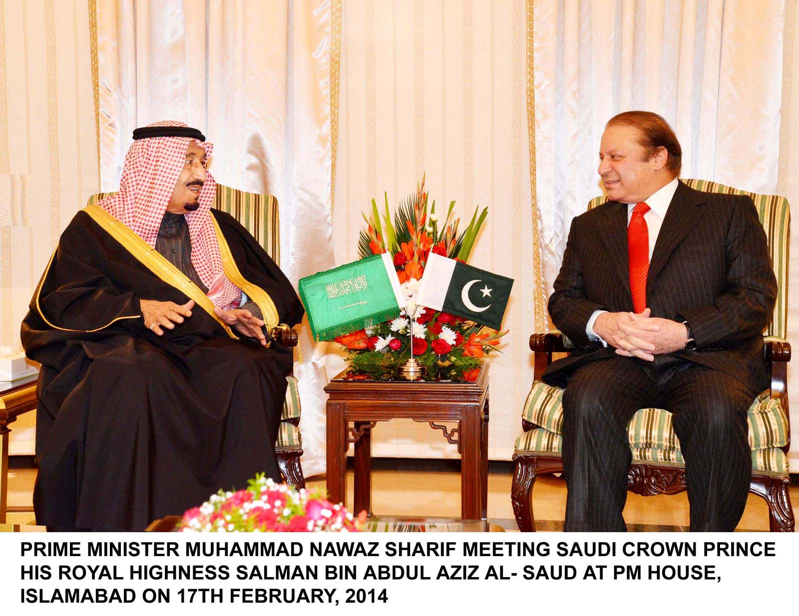 prime minister nawaz sharif meets saudi arabian crown prince salman bin abdul aziz at pm house islamabad on february 17 2014 photo pid file