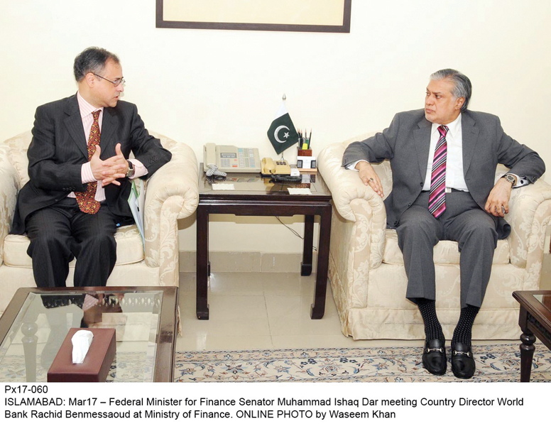 The director called on Finance Minister Ishaq Dar and discussed issues related to the World Bank's assistance to Pakistan. PHOTO: ONLINE