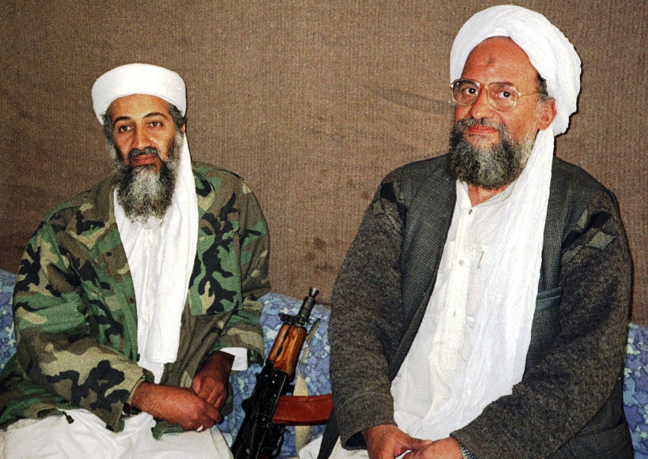 Osama bin Laden (L) sits with his adviser and purported successor Ayman al-Zawahri, an Egyptian linked to the al Qaeda network, during an interview in a file image supplied on November 10, 2001. PHOTO: REUTERS