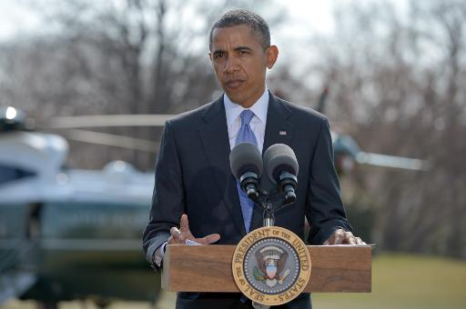 US President Barack Obama speaks on the situation in Ukraine on the South Lawn of the White House on March 20, 2014. PHOTO: AFP