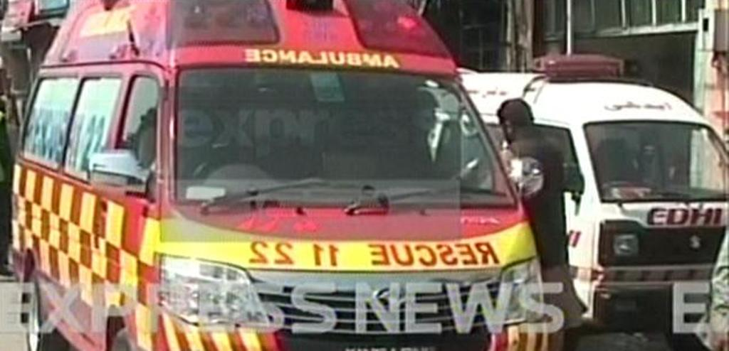 express news screengrab of an ambulance near the site of the fire