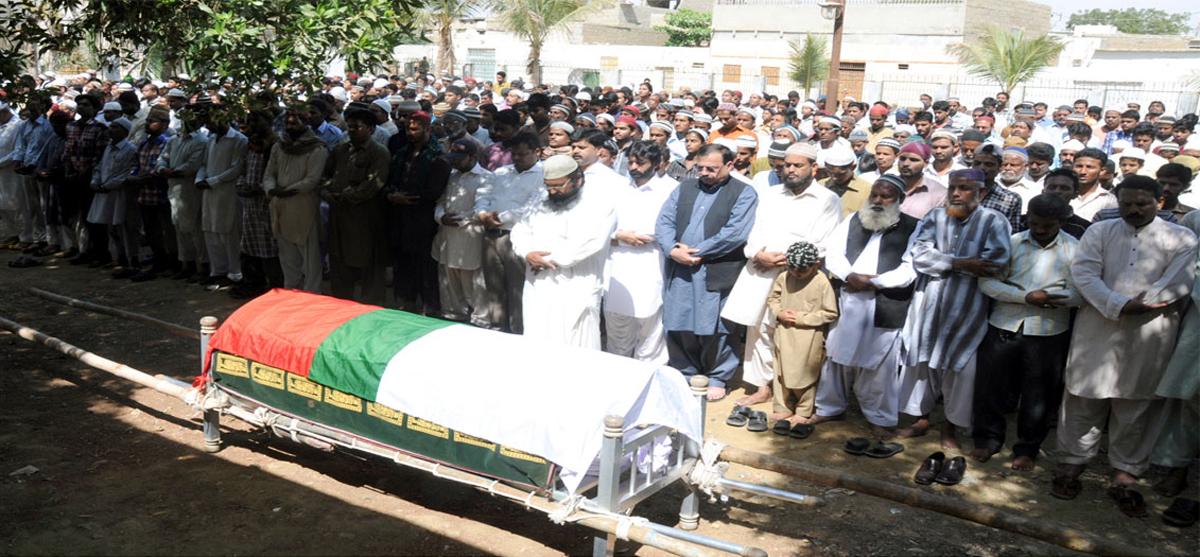 Funeral prayers of MQM's slain member Malik Anwar Ali being offered on Friday. PHOTO: COURTESY MQM