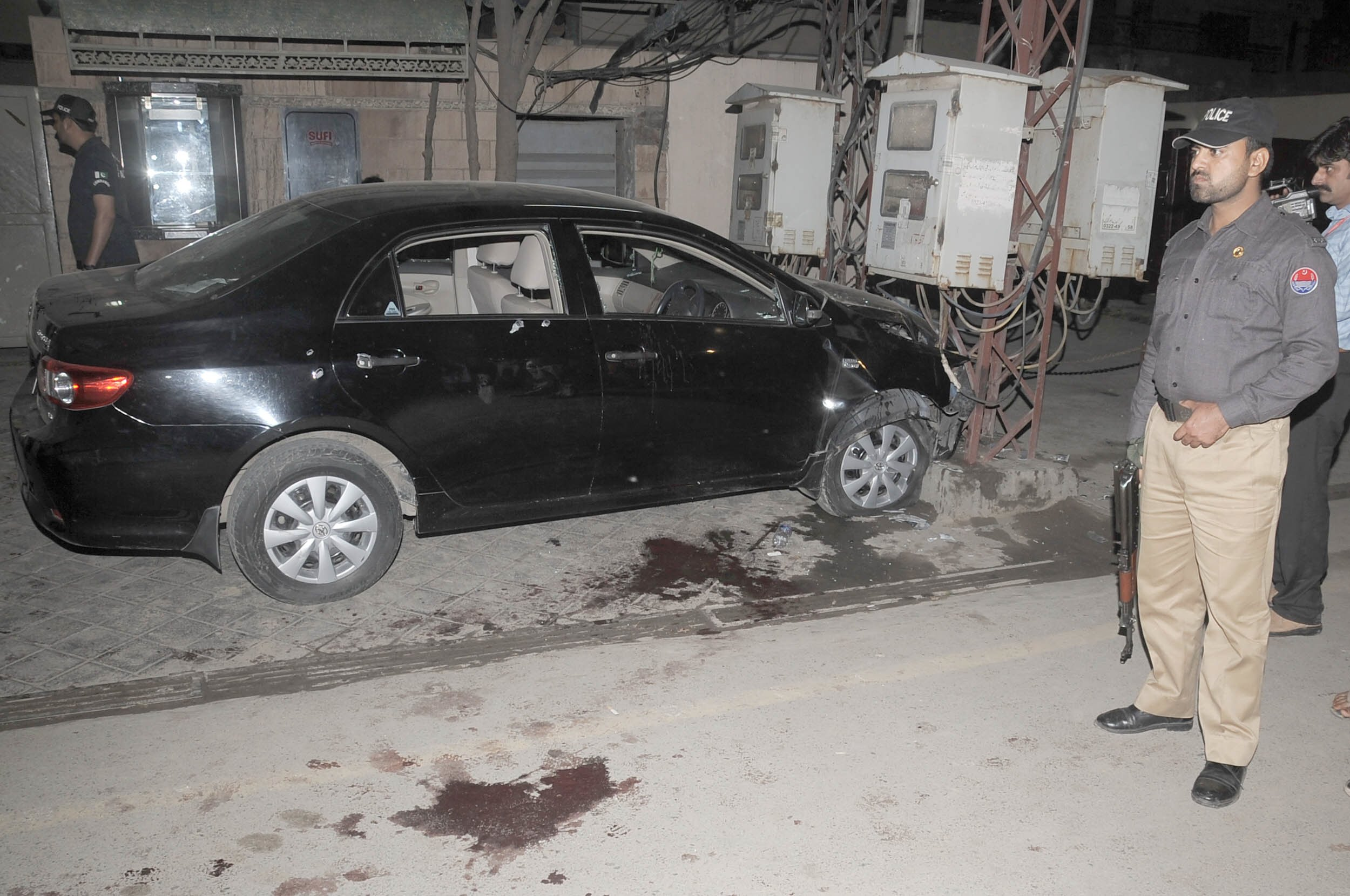 raza rumi 039 s car which was attacked in lahore on friday evening photo tariq hassan express