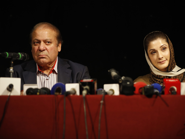 Deposed PM Nawaz Sharif and Maryam Nawaz address a press conference in London prior to their departure for Pakistan. PHOTO: AFP