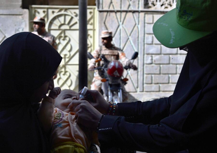 Tenth round in Peshawar; first in Charsadda, Mardan, Swabi. PHOTO: AFP