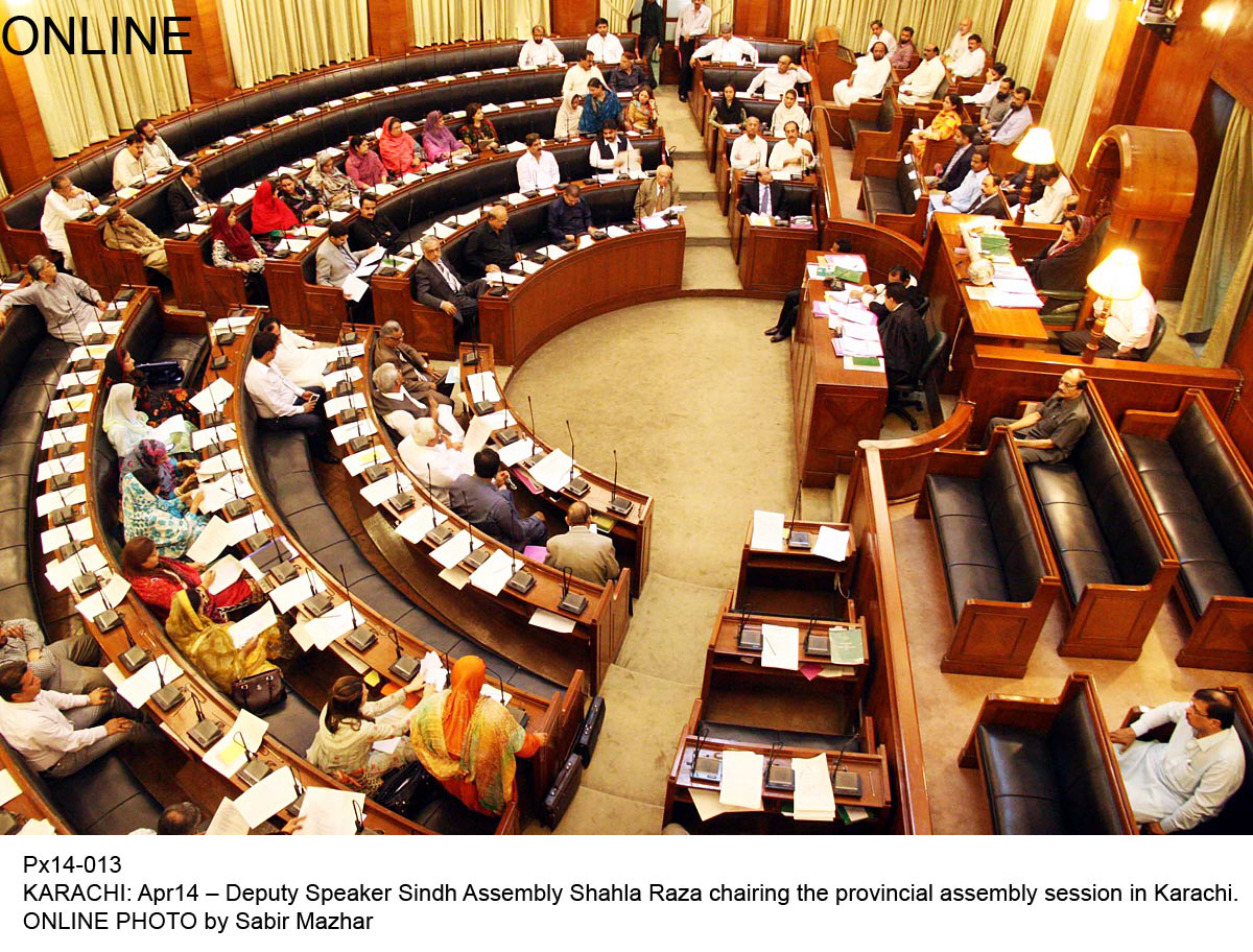 Sindh Assembly in session on Monday. PHOTO: ONLINE