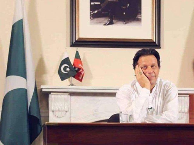 Imran Khan preparing for his victory speech. PHOTO: FACEBOOK