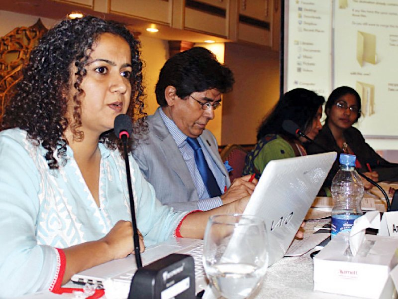 Researcher and activist Nazish Brohi makes a presentation during the concluding session. PHOTO: EXPRESS