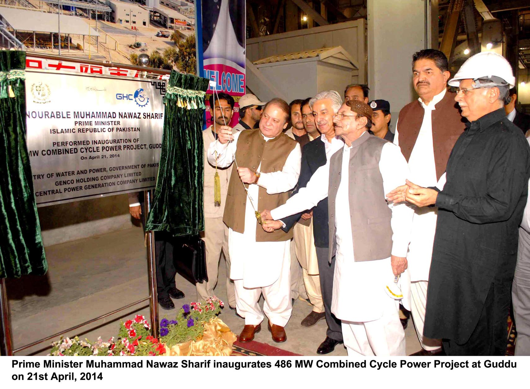 prime minister nawaz sharif along with minister for water and power khawaja asif and the sindh chief minister qaim ali shah unveil the plaque for the 486mw combined cycle power plant at guddu photo pid