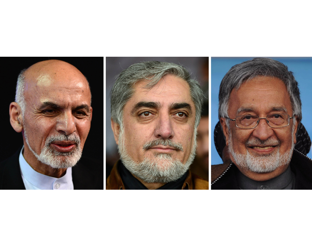 dr abdullah abdullah c in the lead with 43 8 per cent his close rival dr ashraf ghani ahmadzai l in 2nd place with 32 9 per cent and zalmai rassoul r with 11 1 per cent votes photo afp