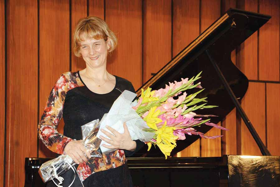 during her performance on wednesday she played compositions by ludwig van beethoven gabriel faure and franz liszt photos publicity