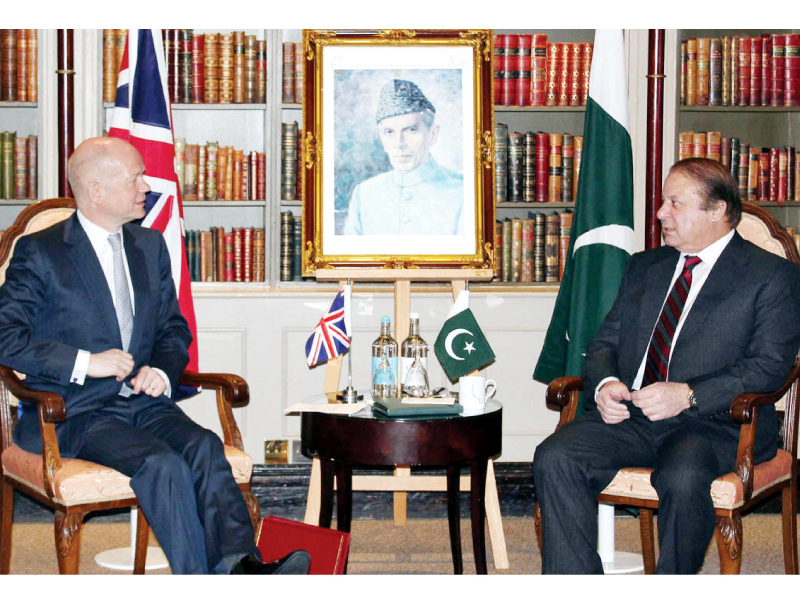 prime minister nawaz sharif meets with the british foreign secretary in london photo nni