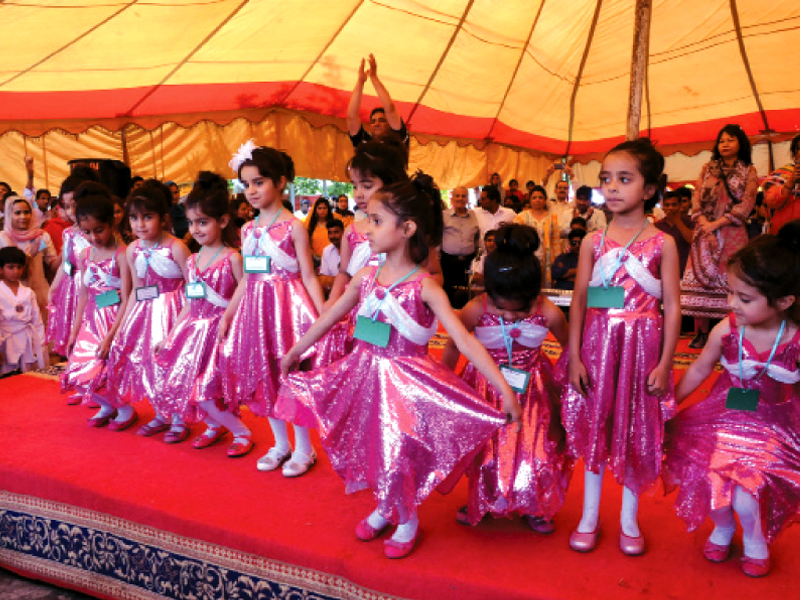 Special children performing to highlight issues facing the disabled on Thursday. PHOTO: MUHAMMAD JAVAID/EXPRESS