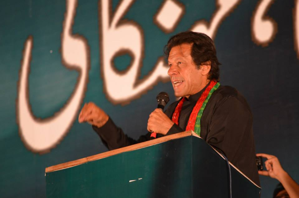 chairman pti imran khan addressing the protesting rally at d chowk islamabad photo pti