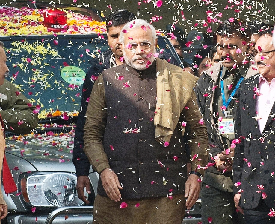In this photograph taken on December 24, 2013, Chief Minister of the western Indian state of Gujarat and Bharatiya Janata Party (BJP) prime ministerial candidate Narendra Modi arrives for the BJP's Chief Ministers' conference at the party headquarters in New Delhi. PHOTO: AFP