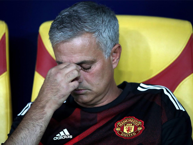 Manchester United manager Jose Mourinho appears dejected during the match. PHOTO: GETTY